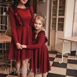 latori - sukienka damska z kolekcji mama i córka lm46/1 bordowy, falbana