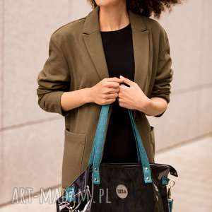 czarna torba damska na ramię z folii kieszonką, torebka damska