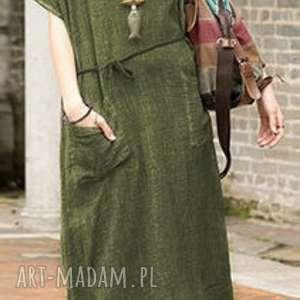 sukienka zielona na lato, len, prezent, bawełna, mama, etno, świąteczny