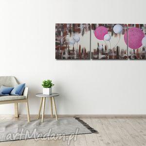 obraz dmuchawce różowo białe - 150x50cm duży ręcznie malowany, obraz, różowy