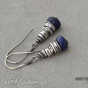 lapis lazuli kolczyki, srebro, lapis, lazuli, minerały, surowe
