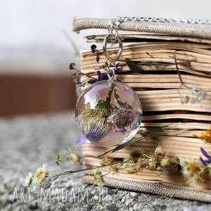 naszyjnik z kwiatami z żywicy i srebra - żywica, kwiaty, natura, romantyczna