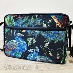 mała torba miejska - pawie, ptaki, elegancka, nowoczesna, prezent