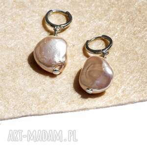 perły seashell, perły, kolczyki z perłami, beżowe nieregularne
