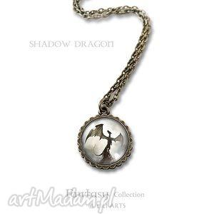 hand-made naszyjniki medalion, naszyjnik - smok cienia mały antyczny brąz