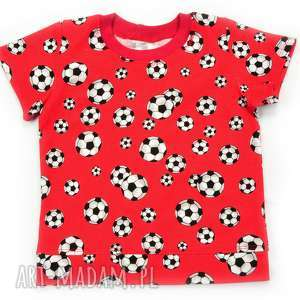 PIŁKI czerwona koszulka bawełniana dla chłopca, 68-122, t-shirt, dla-chłopca
