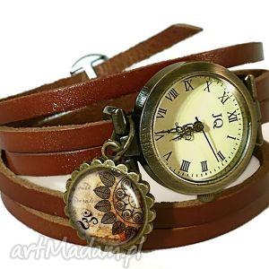 handmade zegarki mandala - zegarek / bransoletka na skórzanym pasku
