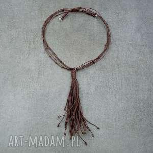 Brązowy naszyjnik ze sznurków, sznurek, sznurkowy, lekki, naturalny, frędzle,