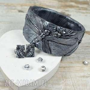 Prezent Ważki - oryginalny komplet biżuterii w odcieniach czerni i srebra