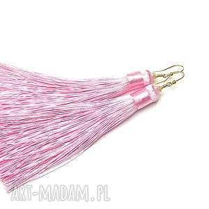 maxi boho /pink/ - kolczyki, srebro, pozłacane, kryształki, chwosty, boho