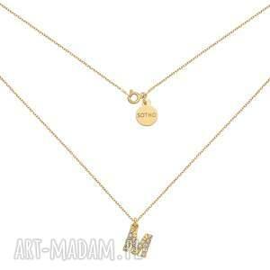 naszyjniki złoty naszyjnik z literką wysadzaną bezbarwnymi kryształkami, litera