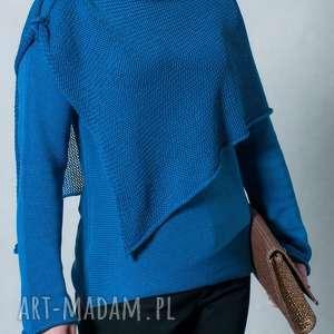 swetry niebieski sweter z szalem, bawełna, sweter, szal
