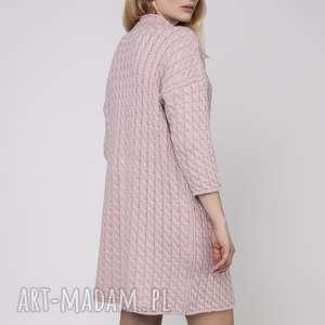 dzianinowa sukienka, suk006 róż mkm, dzianinowa, prosta, dzianina, pastelowy, wzór