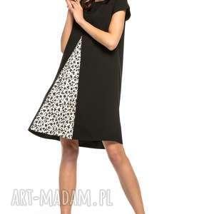 Sukienka z kontrafałdą przodu, T262, czarny wzór, sukienka, kontrafałda, tkanina