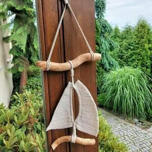 żaglówka makrama, dekoracja ścienna, styl marynistyczny, żaglówka, łódka