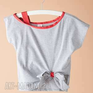 ubranka bluzka db08, bluzka, kokardka, szara, sportowa, elegancka, krótkirękaw