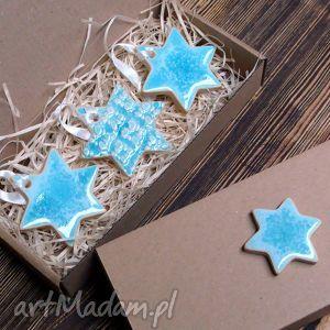 ceramika błękitne zawieszki, gwiazdka, ceramiczne, upominek, koronka