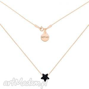 ręcznie zrobione naszyjniki naszyjnik z różowego złota z czarną kryształową gwiazdką swarovski® crystal
