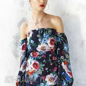 bluzka w malowane kwiaty z odsłoniętymi ramionami, bluzka, kwiatowa, wiskoza