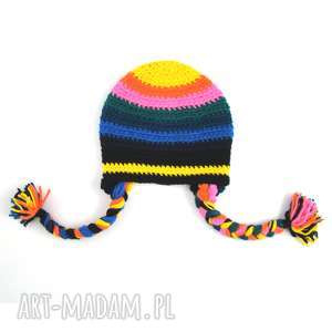 czapka kolorowa z warkoczami, czapka, czapeczka, warkocze, warkoczyki, paski,