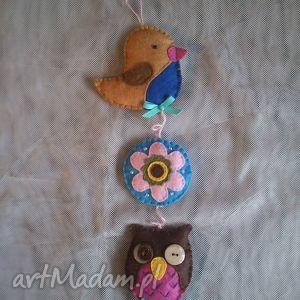 dekoracyjna zawieszka filcowa, filc, ozdoba, zawieszka, sowa, kwiat, ptak