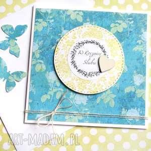 w rocznicę ślubu :: kartka handmade turkus, rocznica, rocznicowa