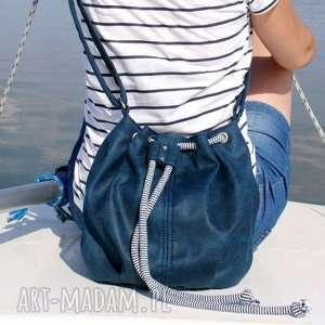 ręcznie wykonane na ramię mini sak vegan morski sznurek