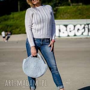 swetry biały ażur, biały, ażurowy, długi rękaw, sweter