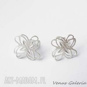 Kolczyki srebrne - ażurowe mini białe sztyft venus galeria