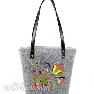hand-made na ramię torebka filcowa polne kwiaty 354