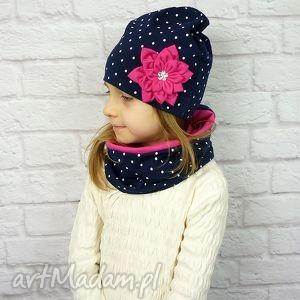 cienki komplet dla dziewczynki, czapka, komin, opaska - czapka, komin, opaska, chusta