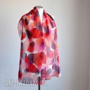 Jedwabny malowany szal - odcienie czarwieni, jedwab, naturalny-jedwab