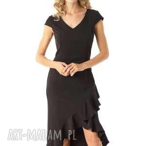 sukienka z dłuższym tyłem naomi czarna, elegancka sukienka, koktajlowa