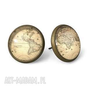 mapa świata - kolczyki sztyfty - brązowe kolczyki, vintage