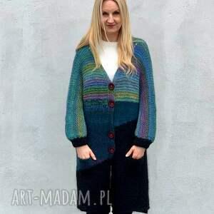 hand-made swetry kolorowy kardigan z alpaki
