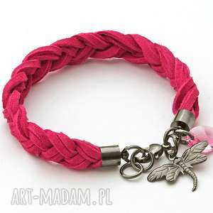 strap with dragonfly & swarovski in fuchsia - ważka