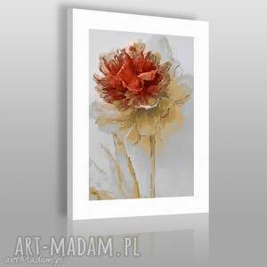 obraz na płótnie - kwiat czerwony - 50x70 cm 02003 - kwiat, roślina, natura