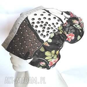 hand made czapki czapka damska na podszewce uniwersalna patchworkowa, polecam box