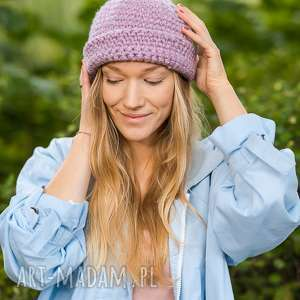 czapki daydream lavenda, szydełko, wywijana, hipster, czapka, wywinięta