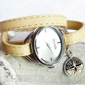 Modny zegarek z zawieszką na bransolecie ze skóry- MAGIC TREE, skóra, skórzany