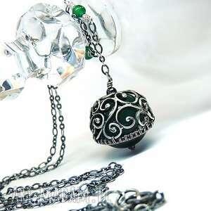 Agat w ornamentach, wisior, agat, zielony, hajcz, srebro
