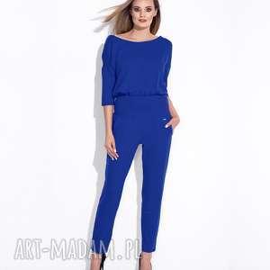 Bien Fashon Elegancki niebieski kombinezon damski z zamkiem na plecach, długi, luźny