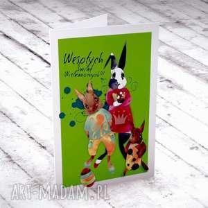 wielkanocna karteczka z zającami, wielkanocne, okolicznościowe, świąteczne, kartki