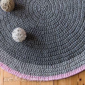 dywan 110 cm ze sznurka baweŁnianego, szary, pudrowy rÓŻ - dywan, szydełko