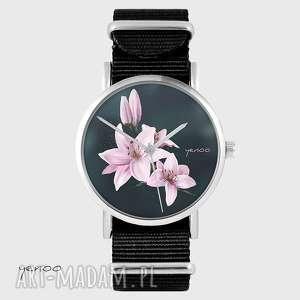 ręcznie zrobione zegarki zegarek - różowa lilia, ciemne tło - czarny, nato