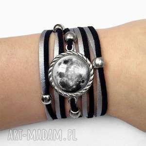 bransoletka księżyc, pełnia, zamszowa, srebrna
