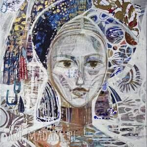 obraz akryl na płótnie 100x70 cm - kobieta w turbanie ii, obraz, ręcznie