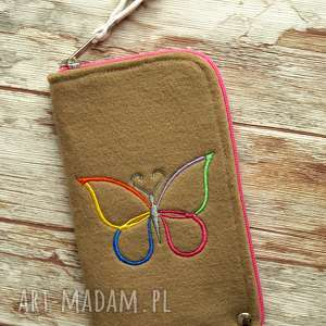 etui filcowe na telefon - motylek, smartfon, pokrowiec, motyl, haftowane