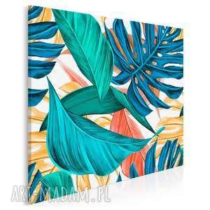 obraz na płótnie - liście tropikalne kolorowy w kwadracie 80x80 cm 92302