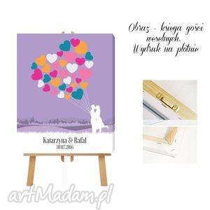 Obraz - Ksiega goście 40x50 cm Serce pełne balonów , księga, gości, obraz
